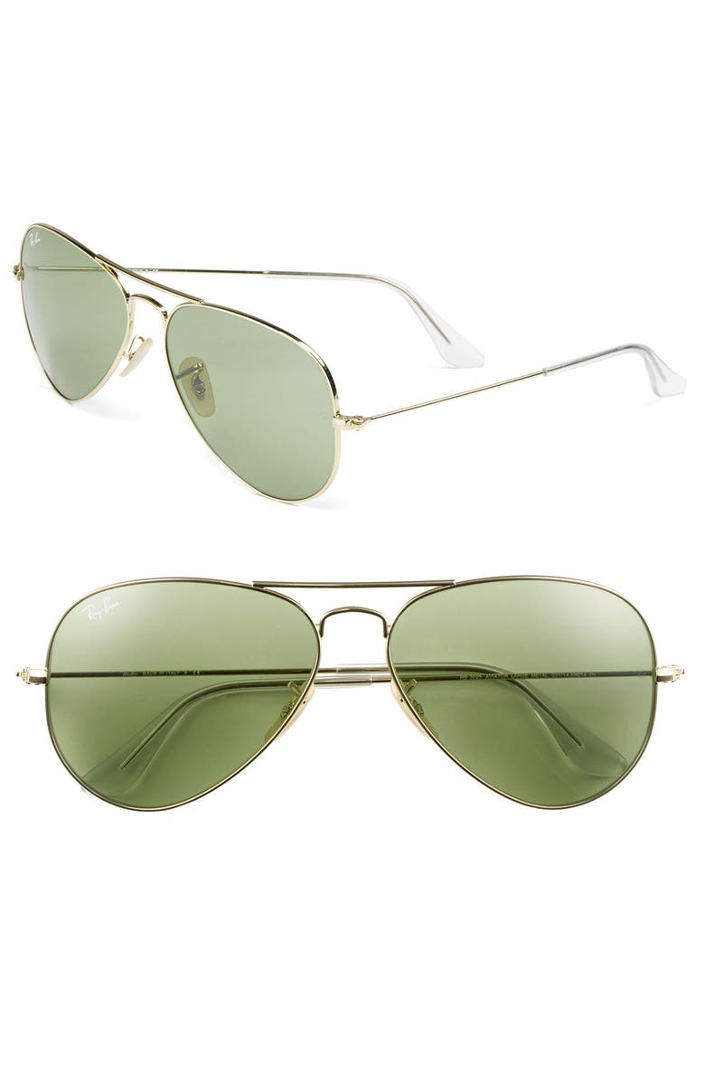 RAY-BAN 'Legend Collection' 58mm Aviator Sunglasses, Main, color, GOLD/ MINT