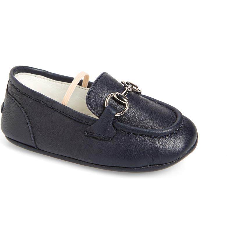 GUCCI Jordaan Loafer Crib Shoe, Main, color, BLUE/ NUDE