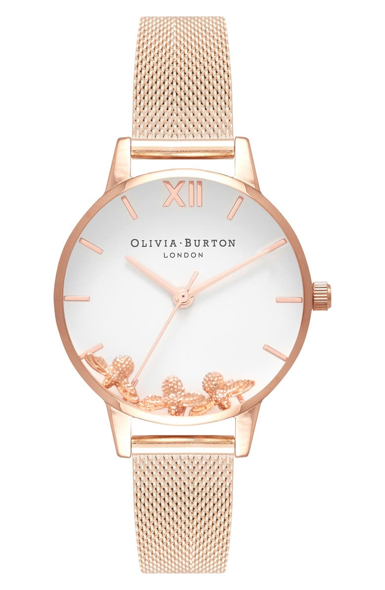 OLIVIA BURTON Busy Bees Mesh Strap Watch, 30mm, Main, color, ROSE GOLD/ WHITE/ ROSE GOLD