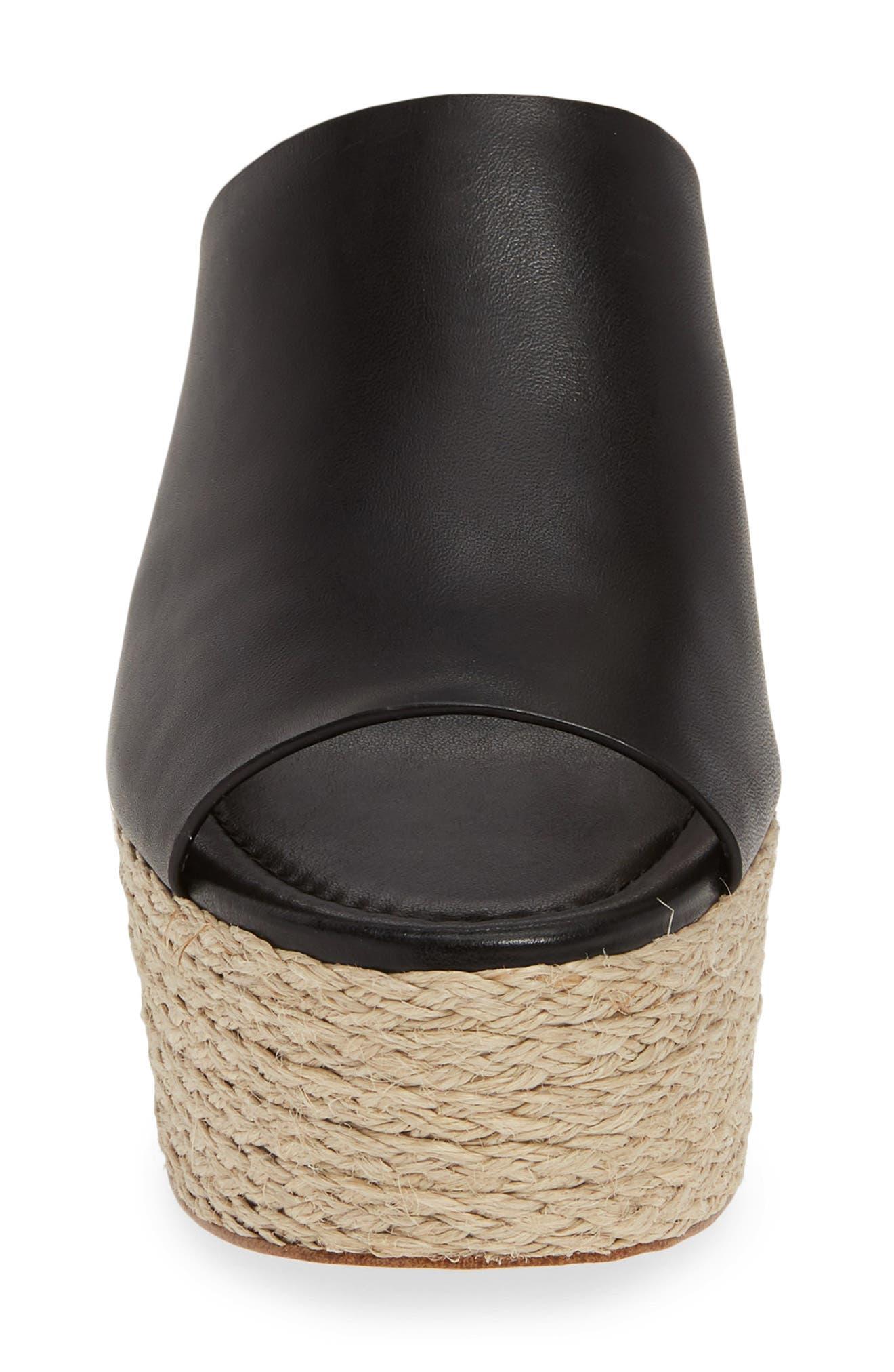 ,                             Cunningham Espadrille Wedge Slide Sandal,                             Alternate thumbnail 4, color,                             BLACK VACHETTA LEATHER