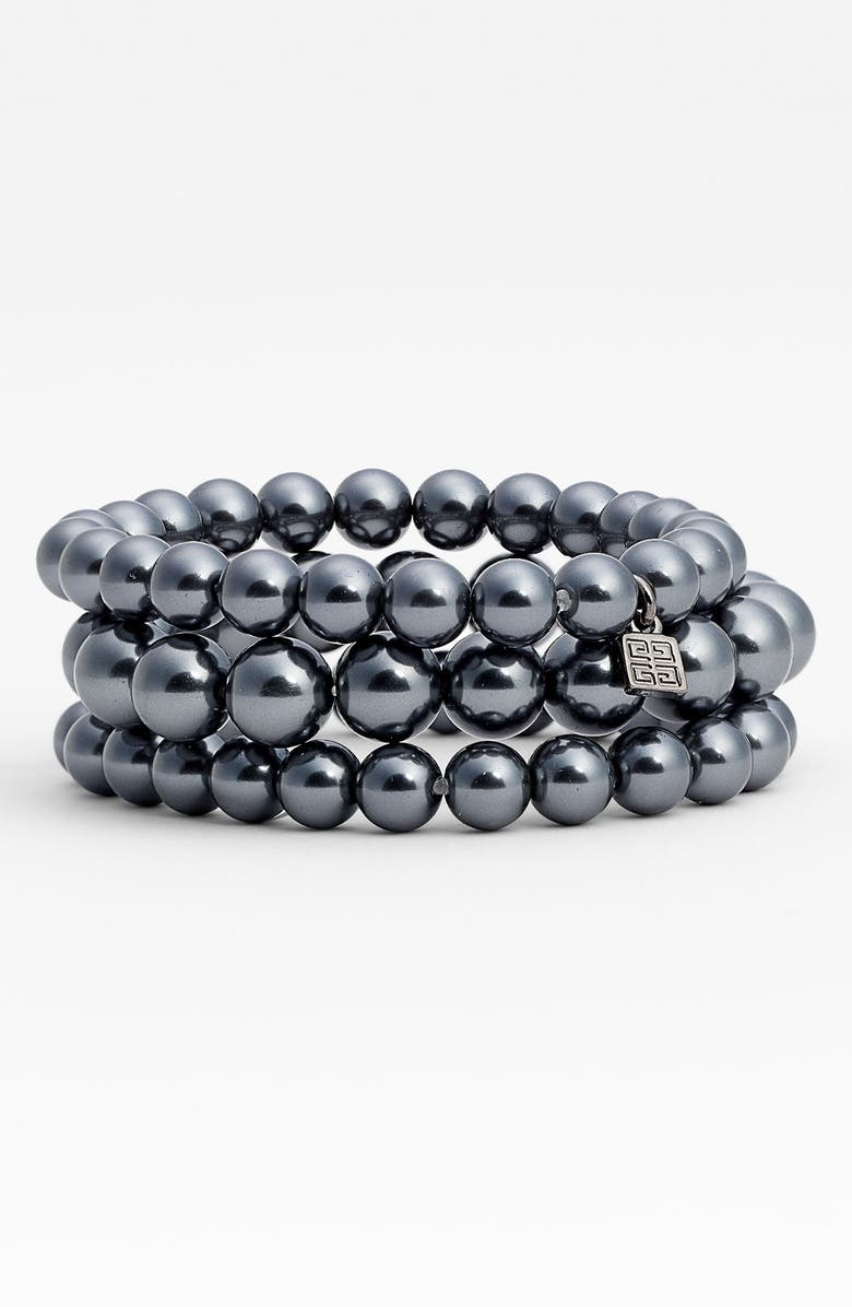 GIVENCHY Glass Pearl Stretch Bracelets, Main, color, 020