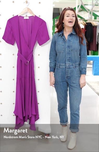 Claire Handkerchief Hem Silk Wrap Dress, sales video thumbnail