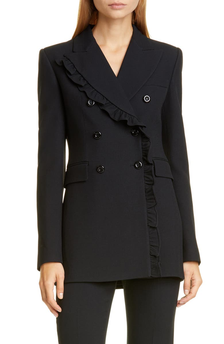 MICHAEL KORS COLLECTION Ruffle Double Breasted Blazer, Main, color, BLACK