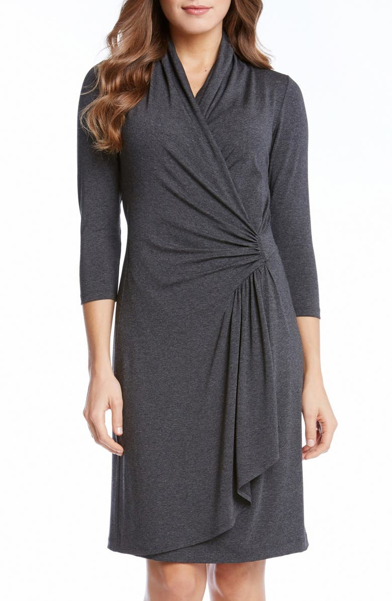KAREN KANE Cascade Faux Wrap Dress, Main, color, 029