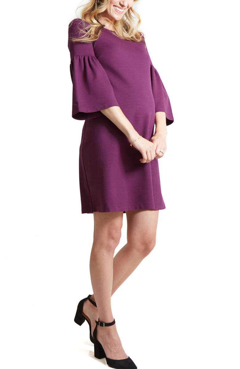 INGRID & ISABEL<SUP>®</SUP> Bell Sleeve Ponte Knit Maternity Dress, Main, color, PLUM