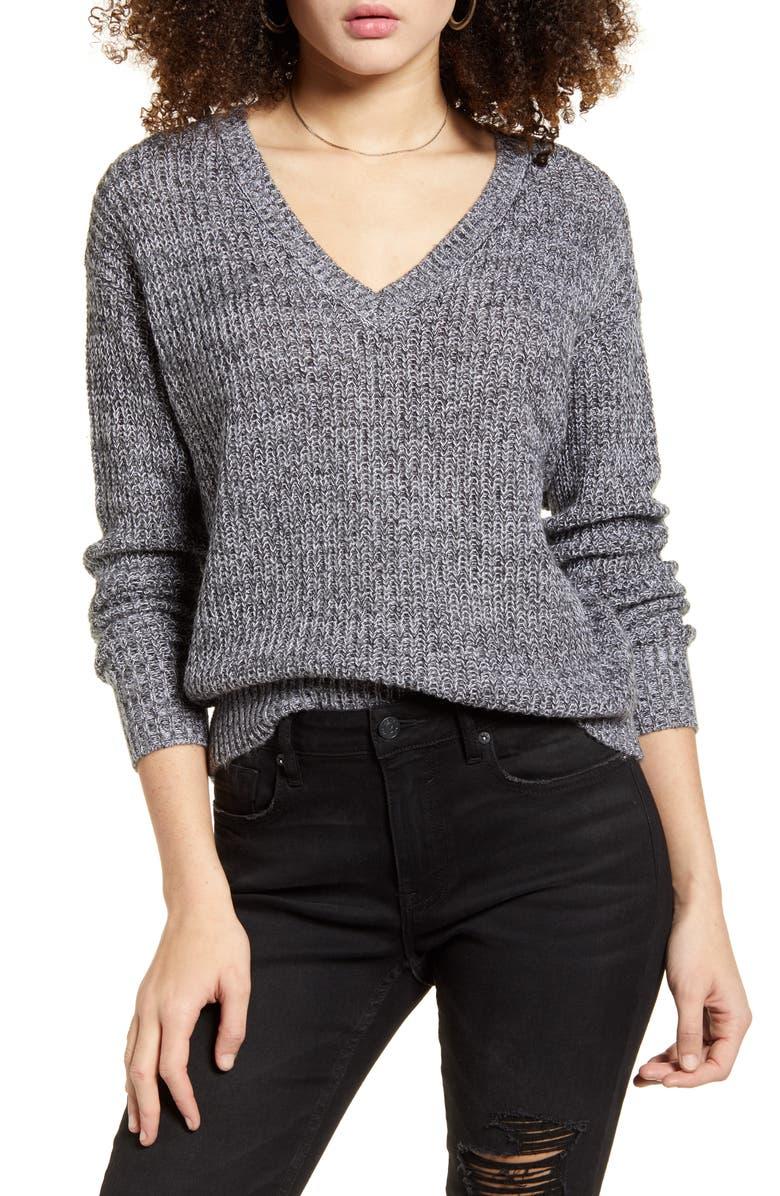 BP. Marled V-Neck Pullover, Main, color, BLACK MARL