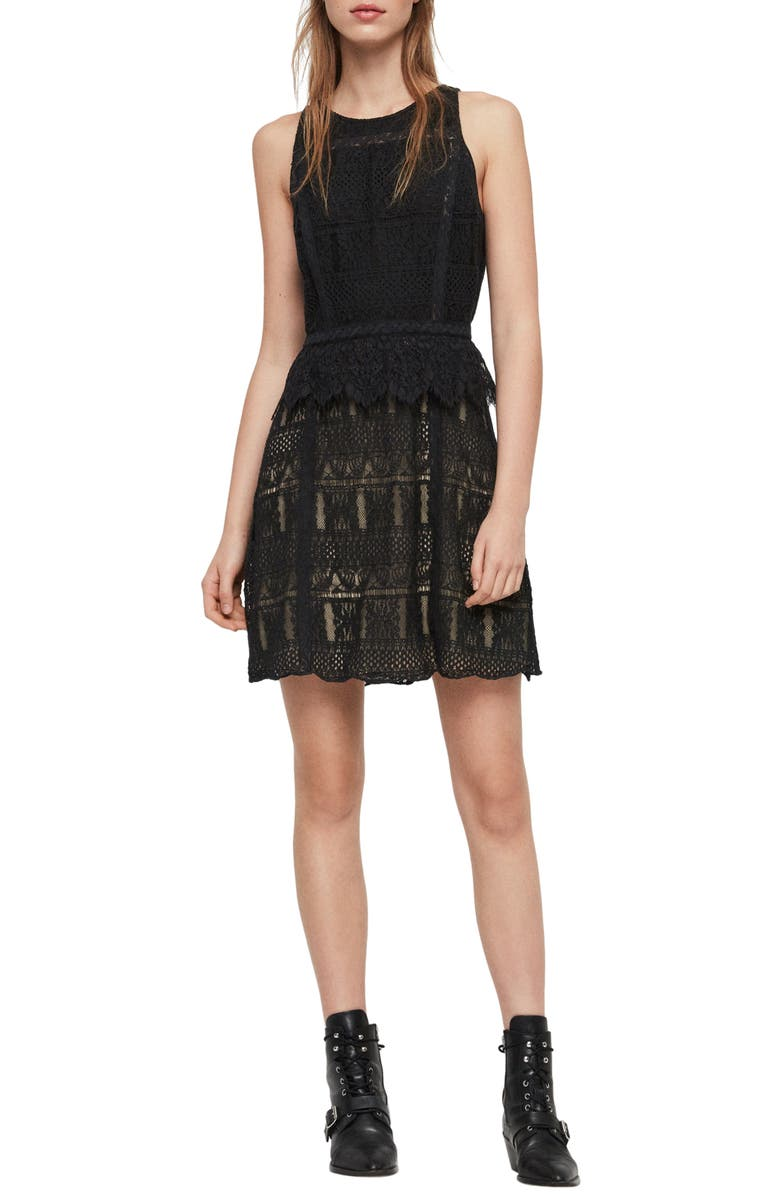 ALLSAINTS Melia Dress, Main, color, 001