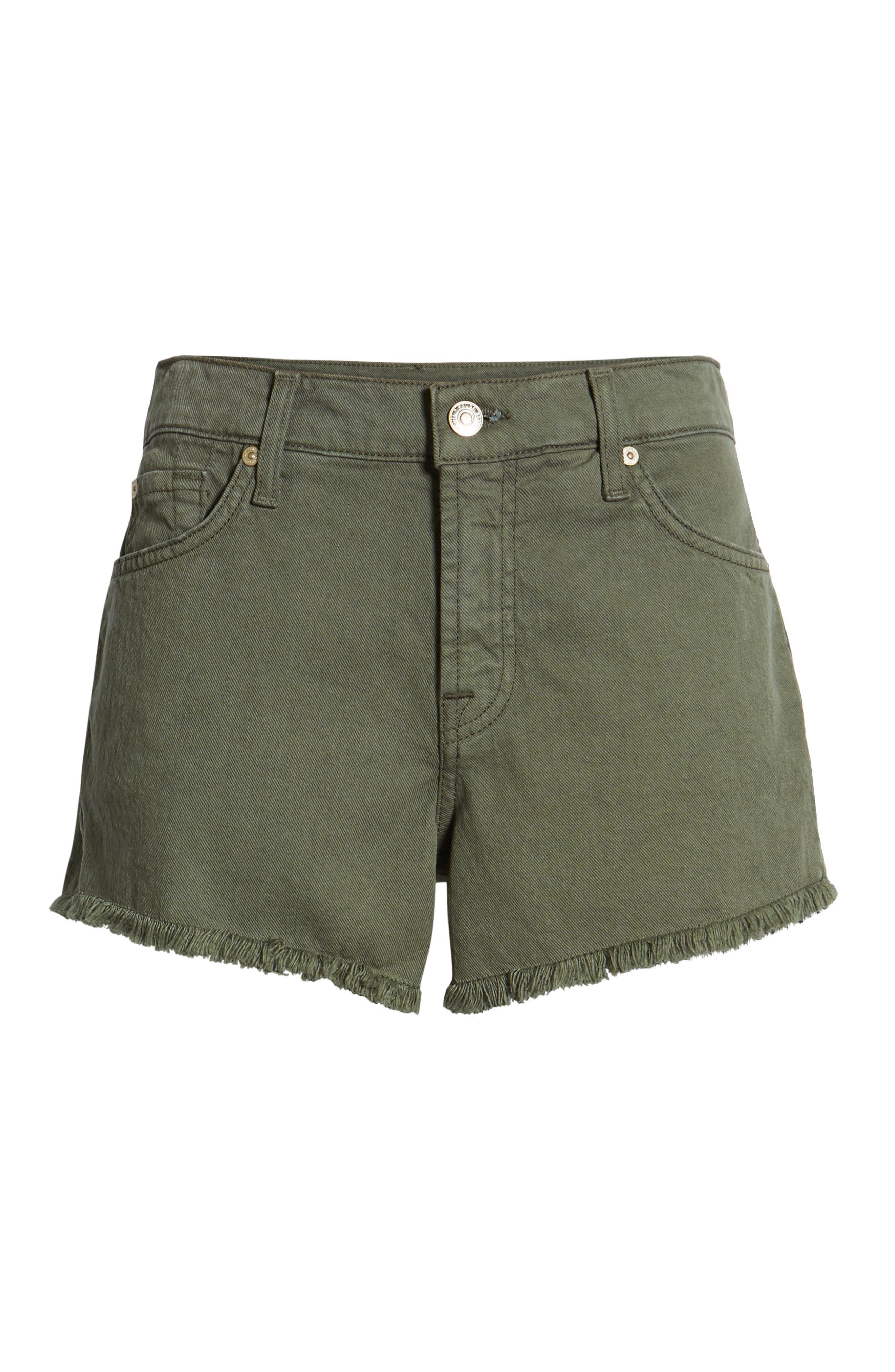 ,                             High Waist Cutoff Denim Shorts,                             Alternate thumbnail 7, color,                             ARMY