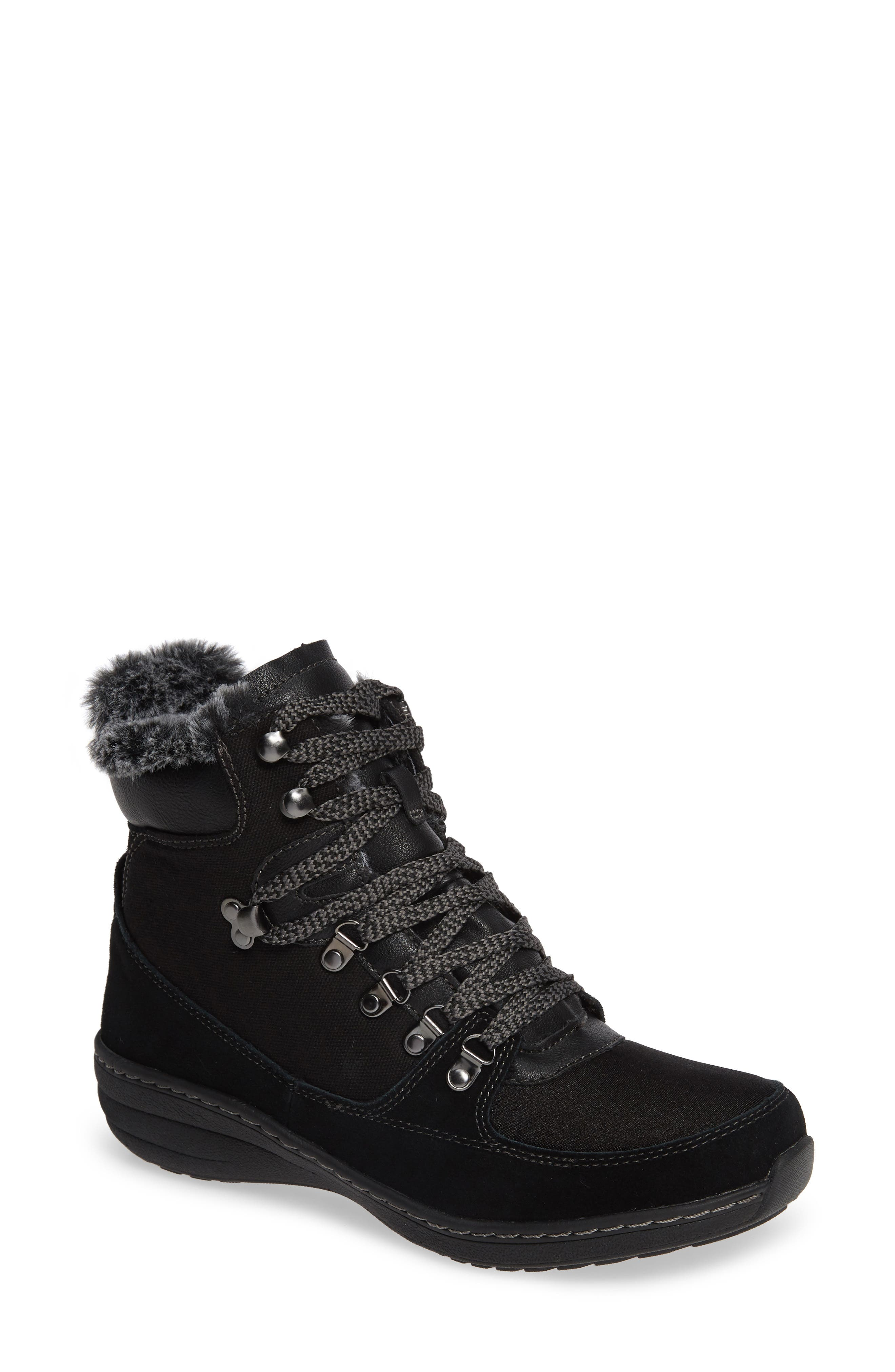 Aetrex Kelsey Faux Fur Lined Hiker Boot, Black