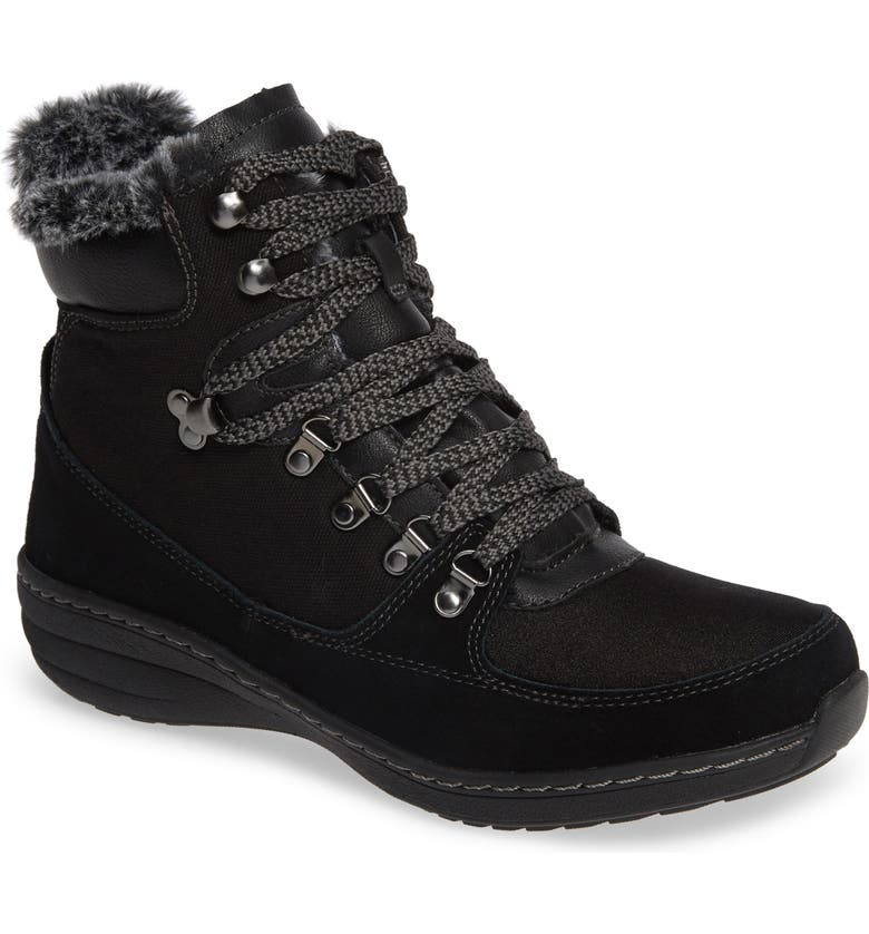 AETREX Kelsey Faux Fur Lined Hiker Boot, Main, color, BLACK FABRIC