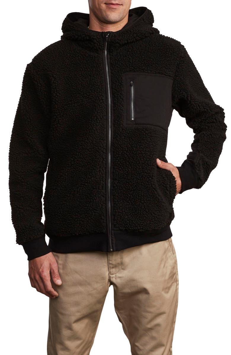 RVCA Knoll Fleece Zip Hoodie, Main, color, BLACK