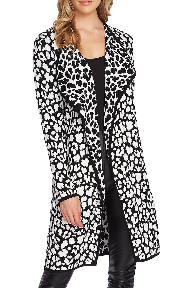 VINCE CAMUTO Cheetah Open Front Maxi Cardigan, Main, color, RICH BLACK