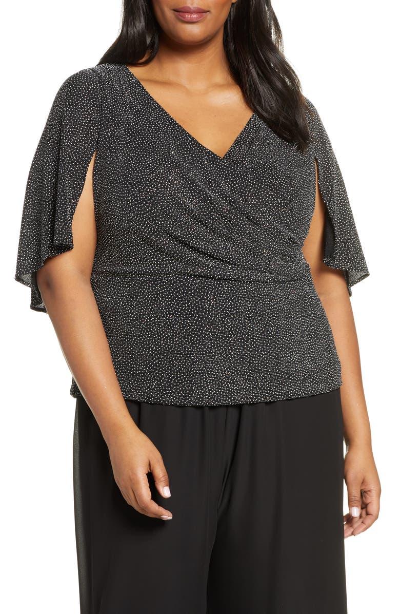 ALEX EVENINGS Print Cape Sleeve Blouse, Main, color, BLACK WHITE