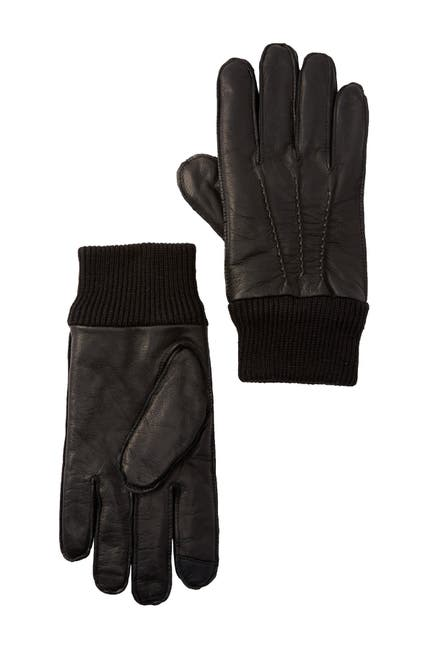 Image of 14th & Union Leather Faux Fur Lined Touch Screen Gloves