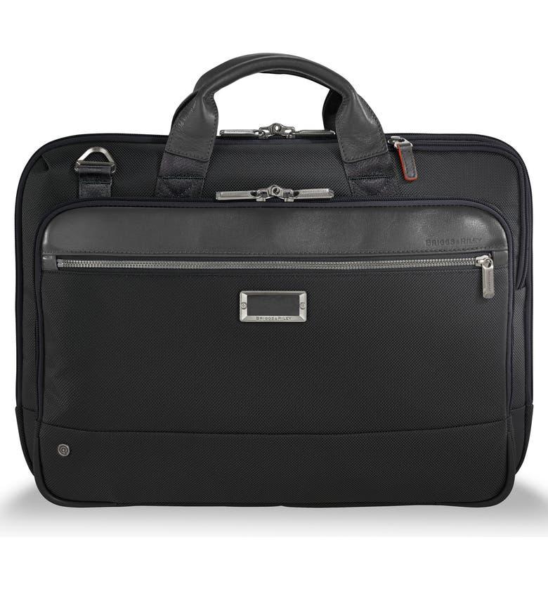 BRIGGS & RILEY @work Slim Briefcase, Main, color, BLACK