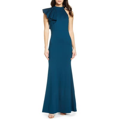 Lulus Margaux One Shoulder Maxi Dress, Blue/green