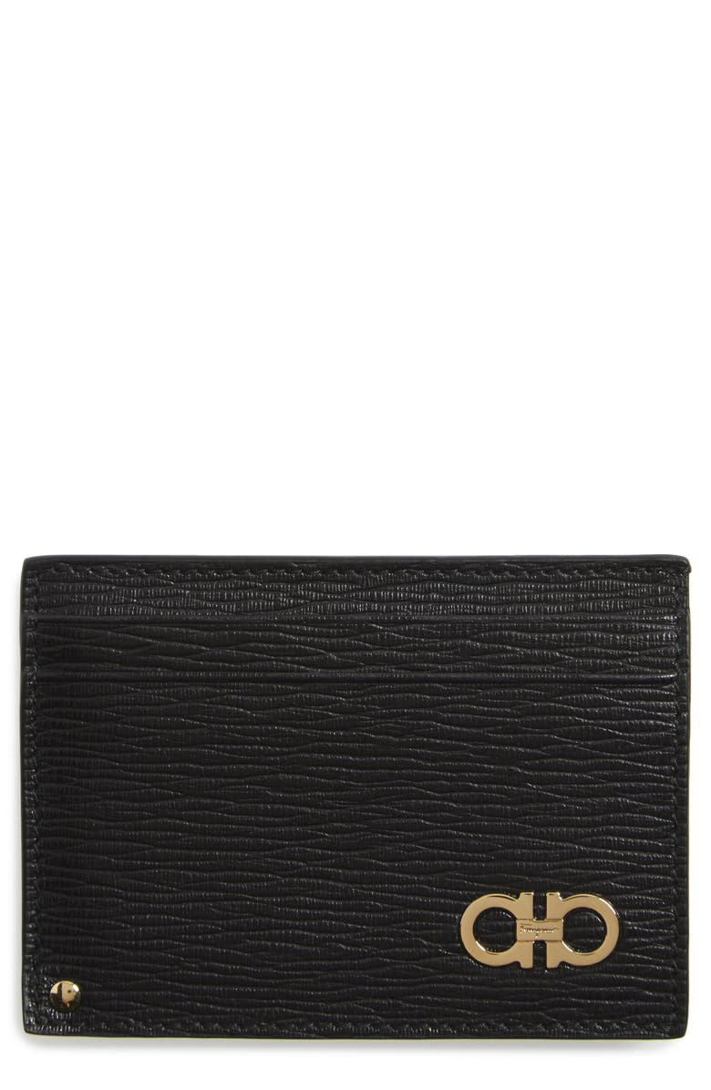 SALVATORE FERRAGAMO Revival Leather Wallet, Main, color, BLACK