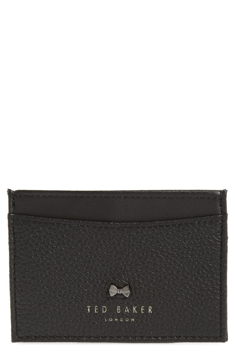 TED BAKER LONDON Lissie Bow Detail Leather Card Holder, Main, color, BLACK
