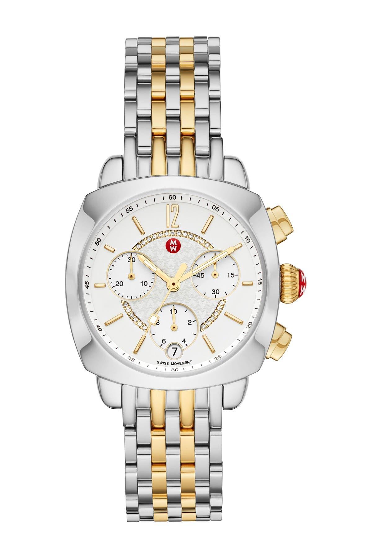 Image of Michele Women's Ascalon Diamond Two-Tone Bracelet Watch, 34mm x 41mm - 0.05 ctw