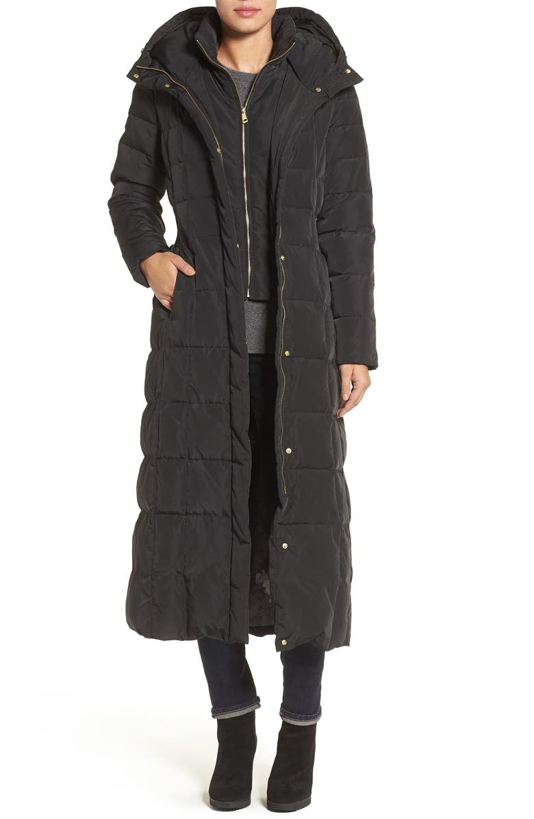 COLE HAAN SIGNATURE Water Repellent Quilted Coat with Inner Bib, Main, color, BLACK