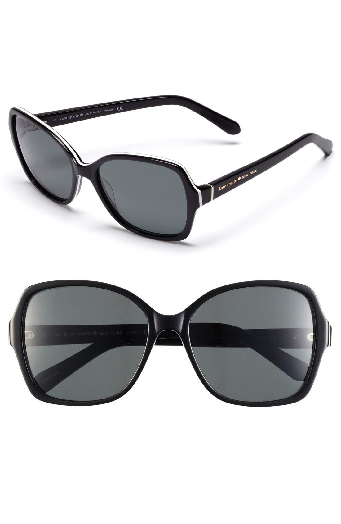'cambria' 56mm polarized sunglasses, Main, color, 001
