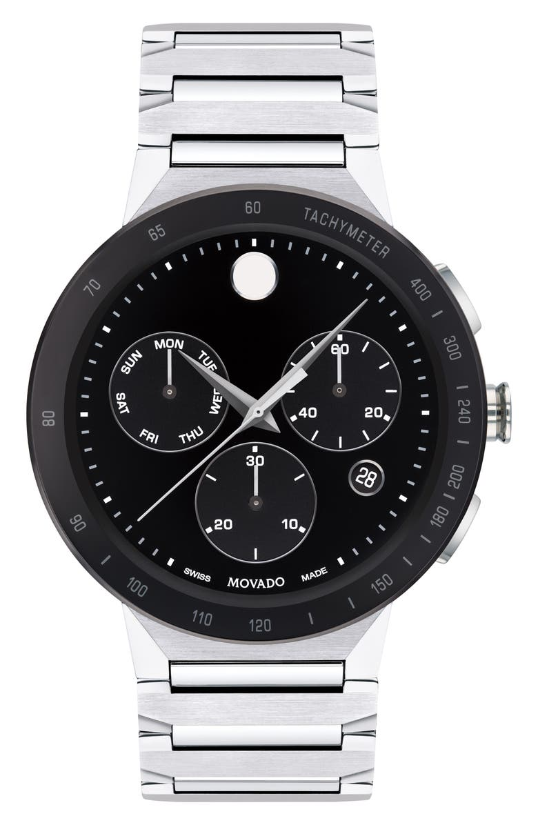 MOVADO Sapphire Chronograph Bracelet Watch, 43mm, Main, color, SILVER/ BLACK