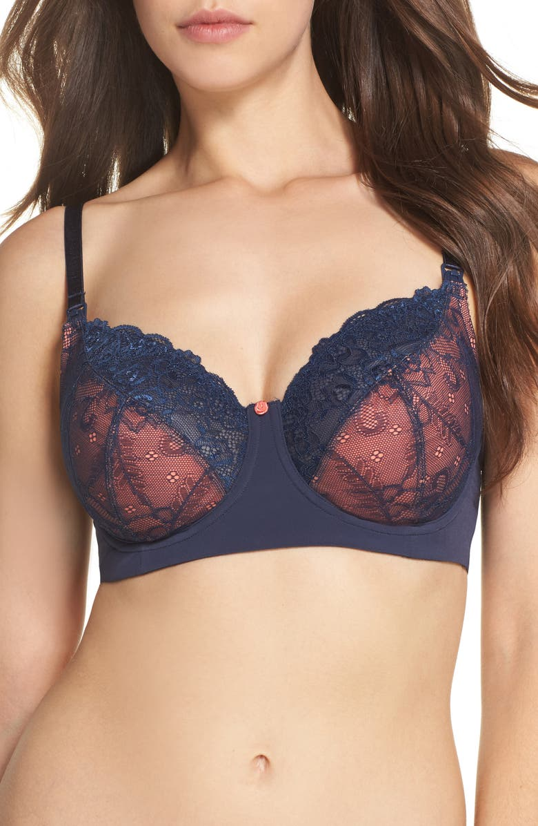 HOTMILK Temptation Underwire Lace Maternity/Nursing Bra, Main, color, MOOD INDIGO