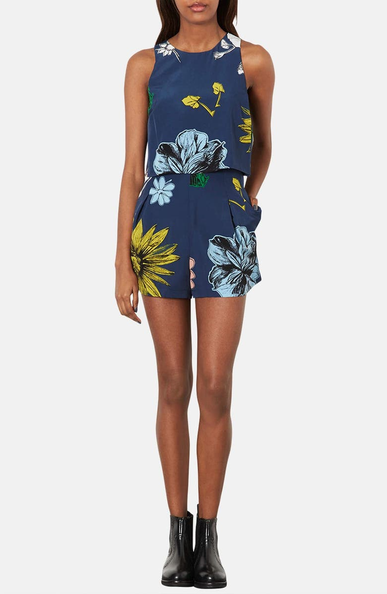 TOPSHOP Tiered Floral Romper, Main, color, 400