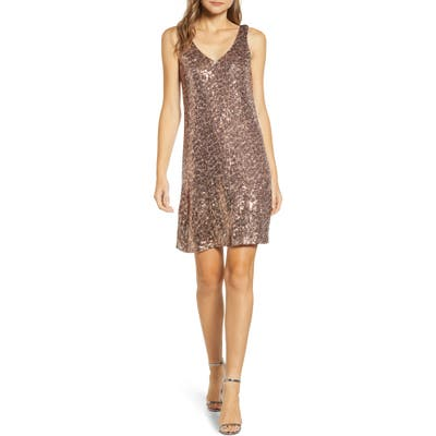 Petite Gibson X Hi Sugarplum! Holiday Soiree Sequin Shift Dress, Green