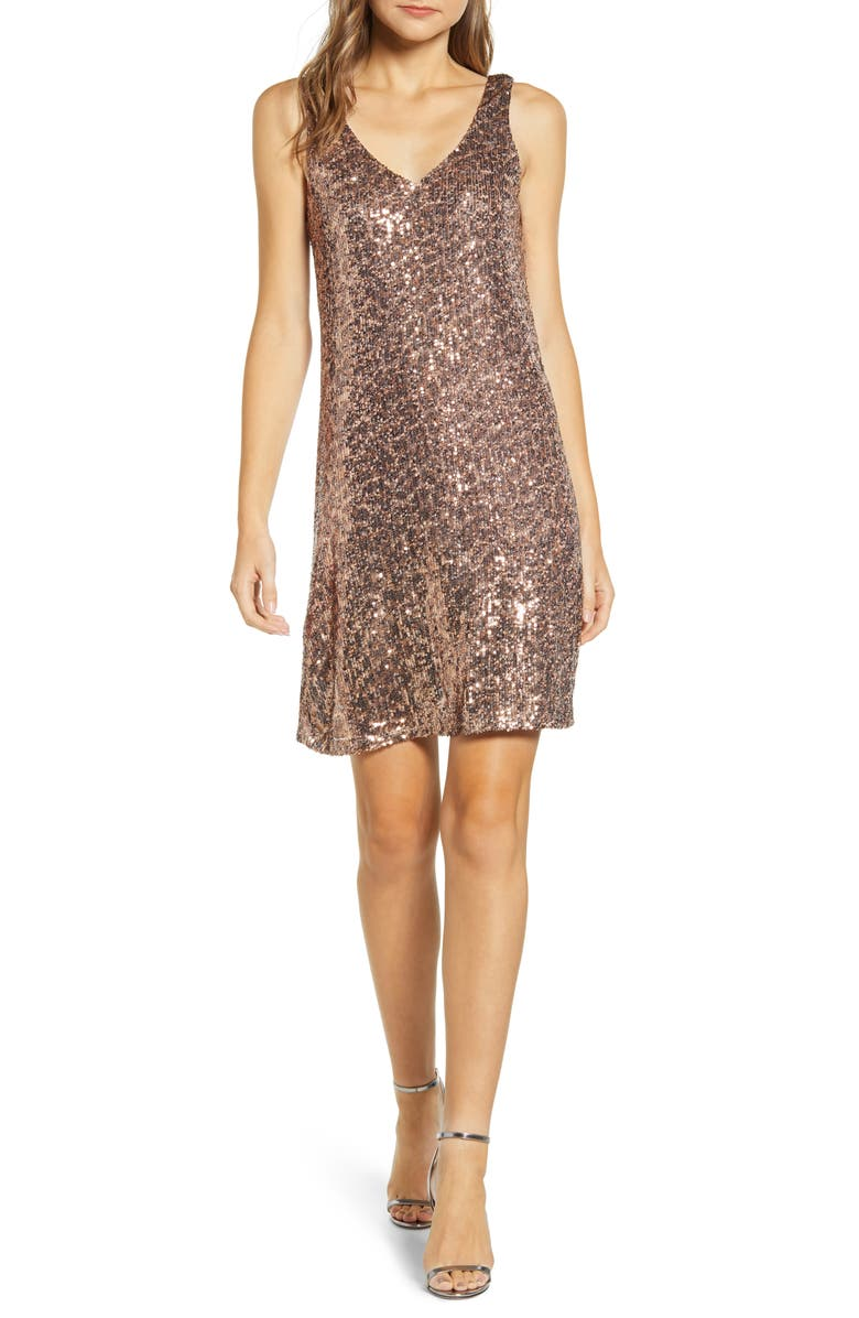GIBSON x Hi Sugarplum! Holiday Soirée Sequin Shift Dress, Main, color, GUEPARD SEQUIN