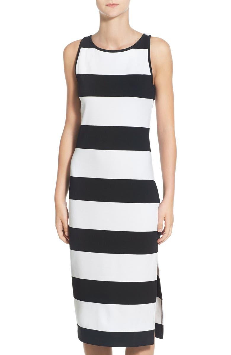 BB DAKOTA 'Francesca' Striped Ponte Midi Dress, Main, color, 014