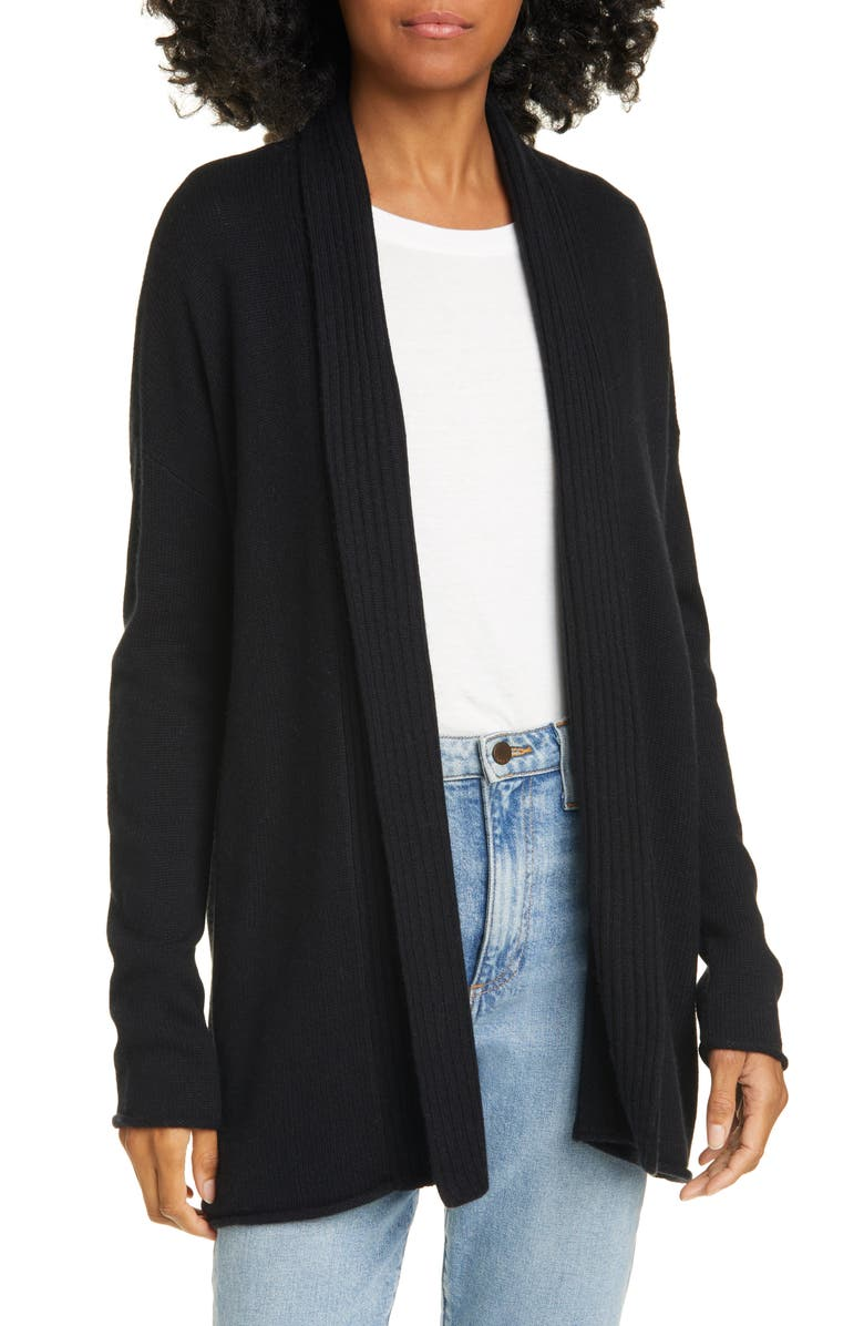 NORDSTROM SIGNATURE Shawl Collar Silk & Cashmere Cardigan, Main, color, BLACK
