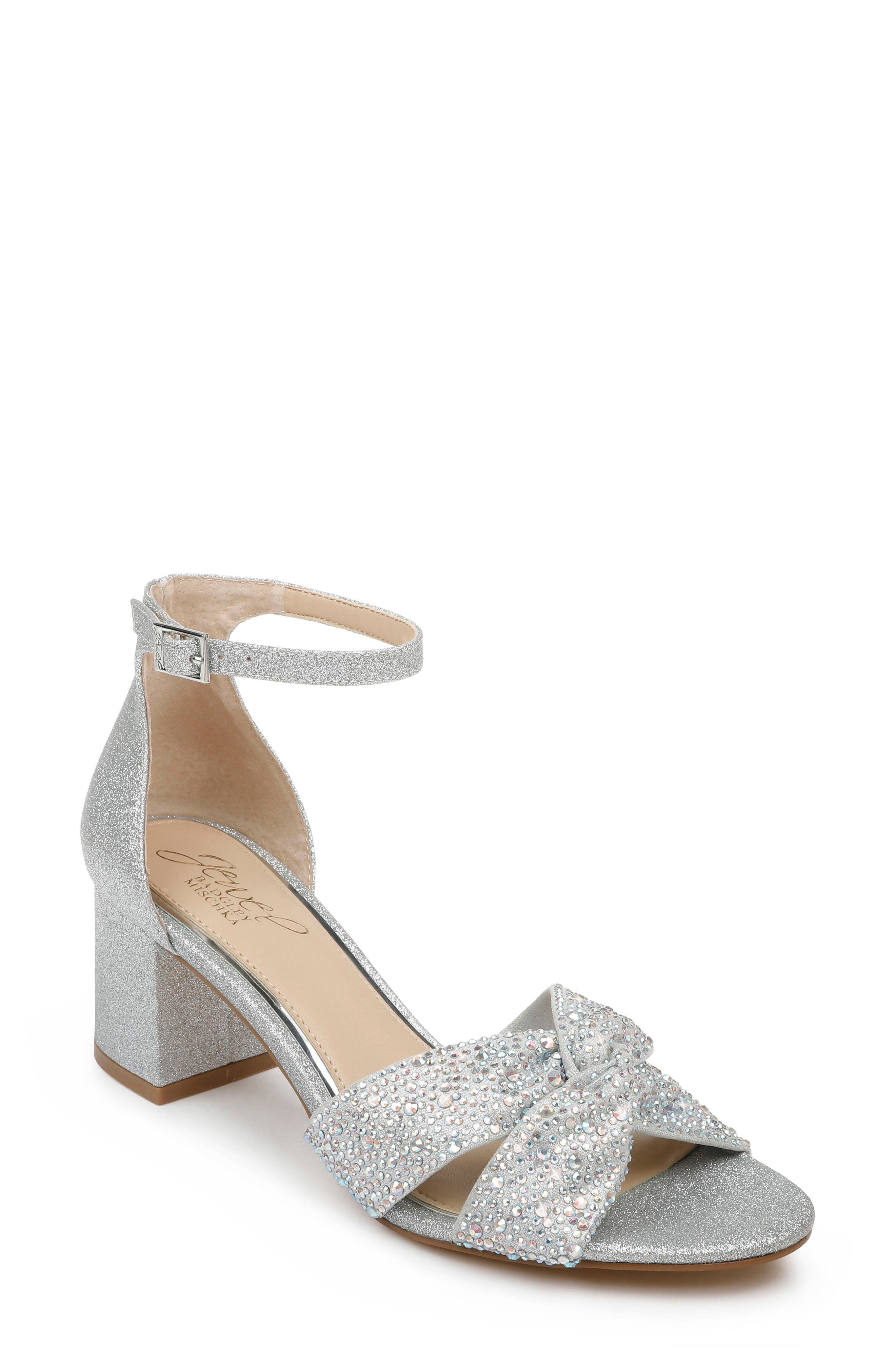 Glittering crystals illuminate the softly knotted straps of an event-ready, ankle-strap sandal set on a stable block heel. Style Name: Jewel Badgley Mischka Nicollete Embellished Sandal (Women). Style Number: 5998995 1. Available in stores.