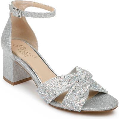 Jewel Badgley Mischka Nicollete Embellished Sandal, Metallic