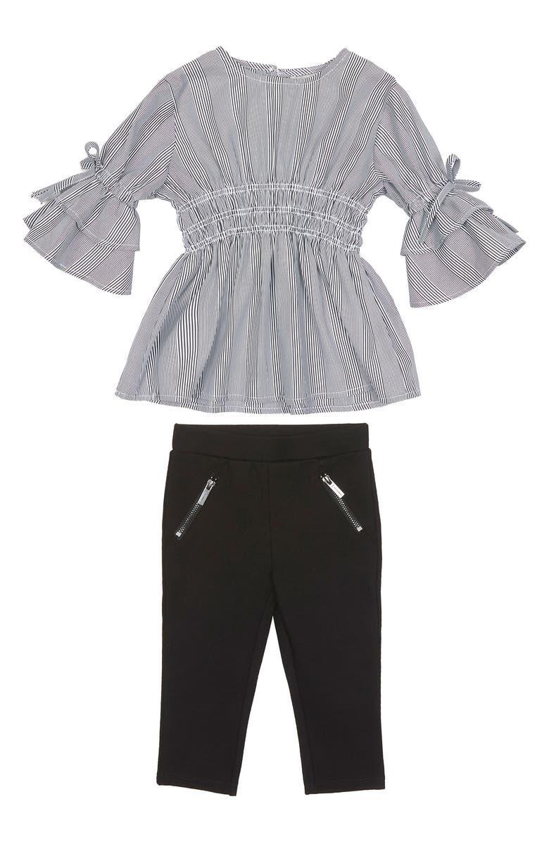 HABITUAL Sloan Stripe Smocked Tunic & Ponté Leggings Set, Main, color, STRIPE