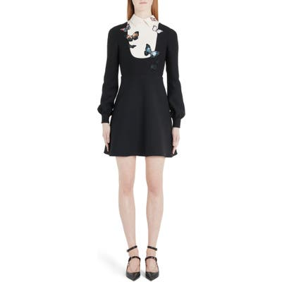 Valentino Butterfly Embroidered Long Sleeve Contrast Bib Minidress, US / 42 IT - Black
