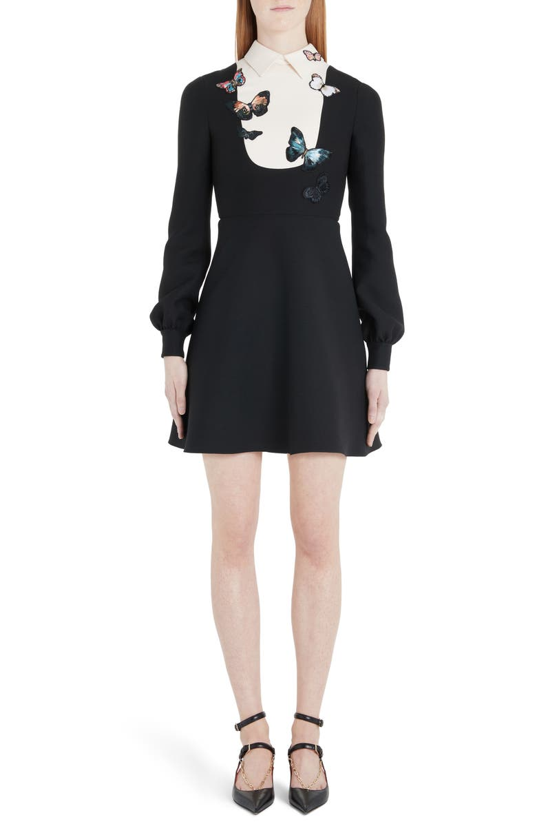 VALENTINO Butterfly Embroidered Long Sleeve Contrast Bib Minidress, Main, color, 0NA-BLACK/ IVORY