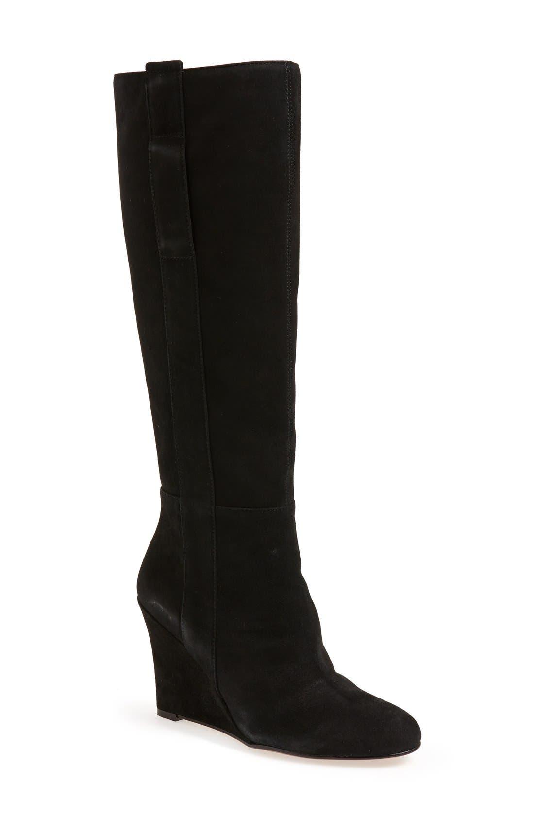 'Oran' Tall Wedge Boot, Main, color, 001