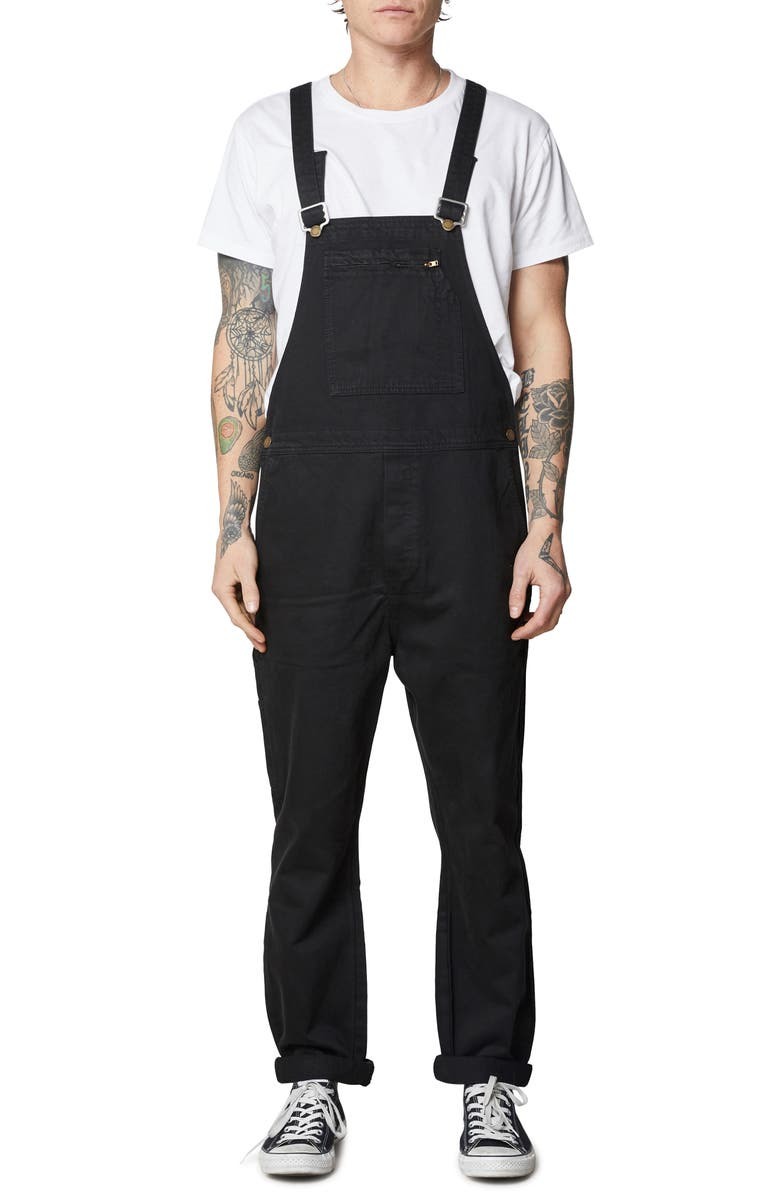ROLLA'S Trade Straight Leg Twill Overalls, Main, color, BLACK