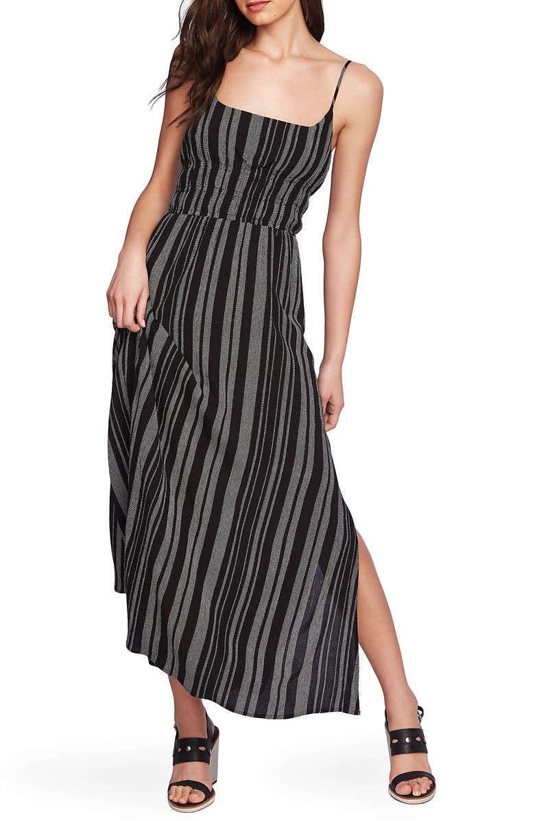 1.STATE Stripe Side Slit Maxi Dress, Main, color, RICH BLACK SOFT ECRU