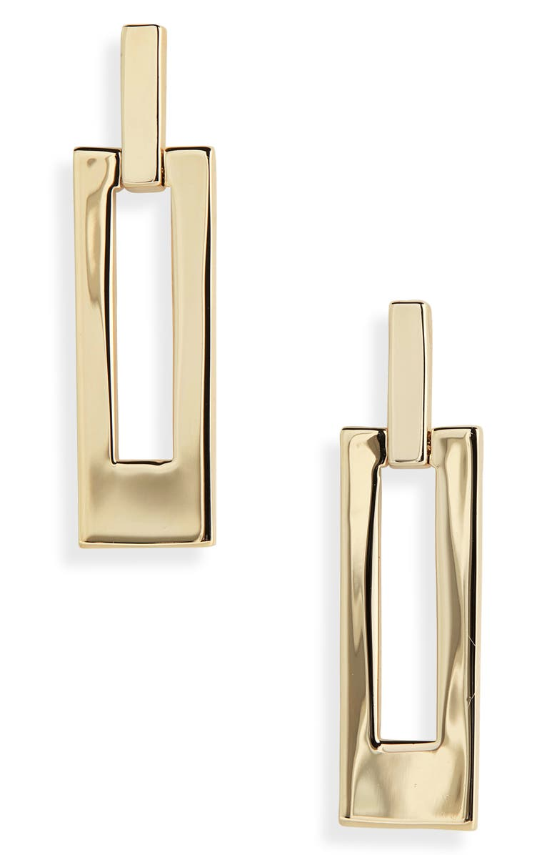 ST. JOHN COLLECTION Metal Drop Earrings, Main, color, LIGHT GOLD