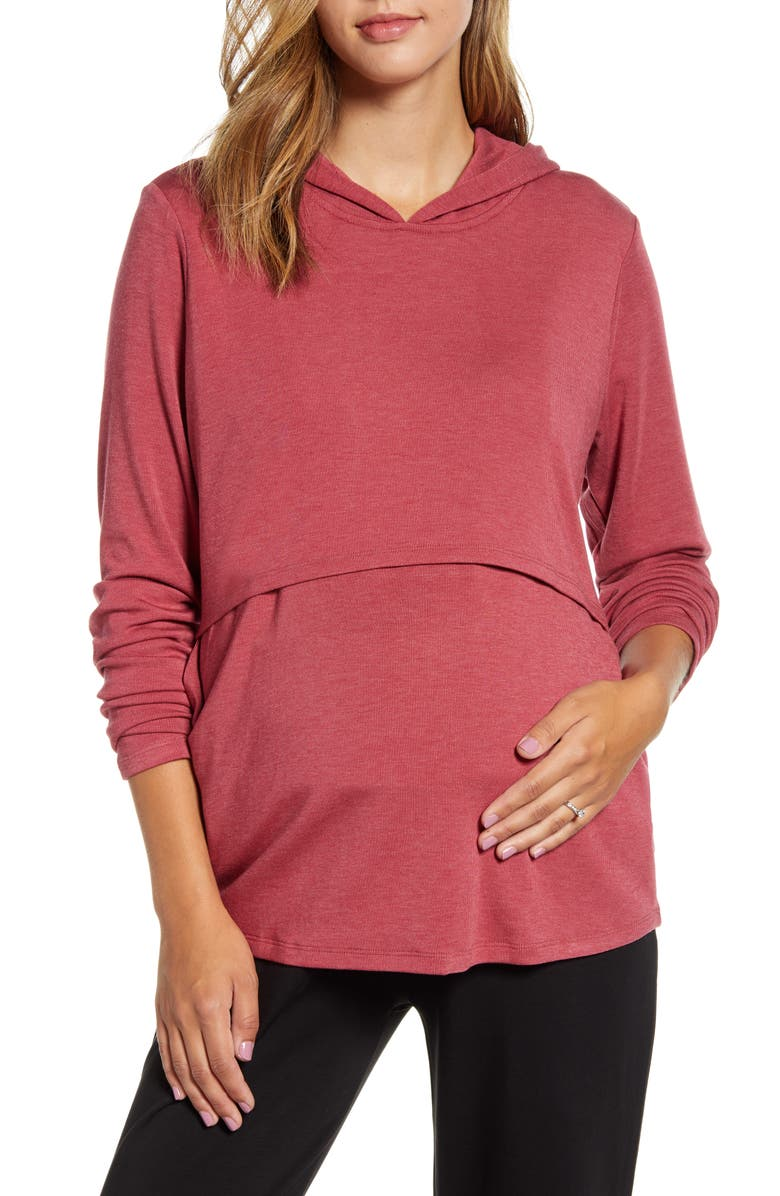 ANGEL MATERNITY Maternity/Nursing Hoodie, Main, color, RED