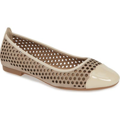 Bettye Mullet Concepts Janae Perforated Cap Toe Flat, Beige