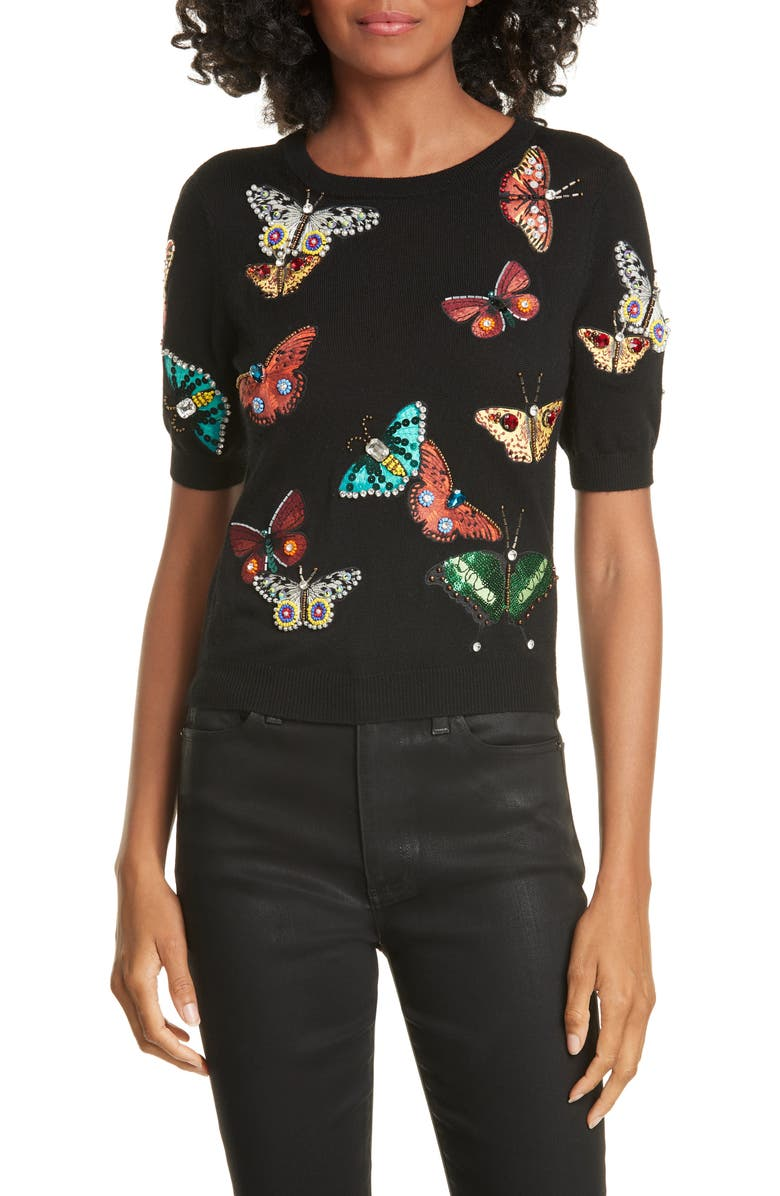 ALICE + OLIVIA Ciara Butterfly Crop Sweater, Main, color, BLACK/ MULTI