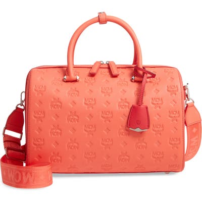 Mcm Essential Boston Monogram Leather Satchel - Pink