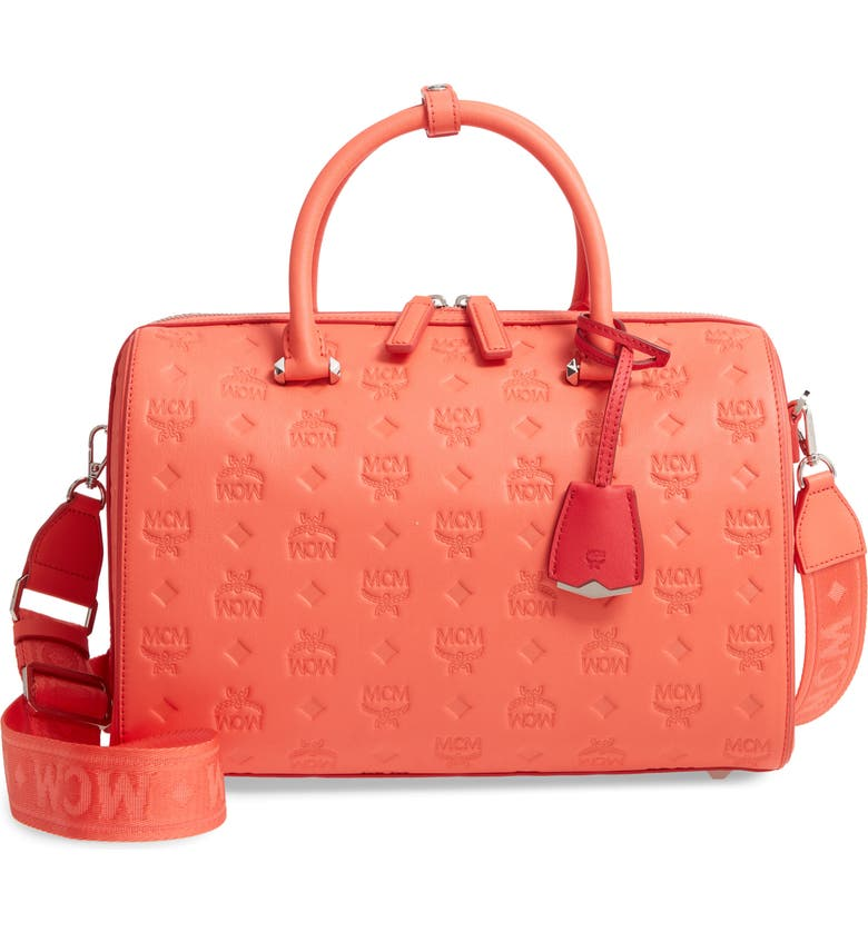 MCM Essential Boston Monogram Leather Satchel, Main, color, HOT CORAL