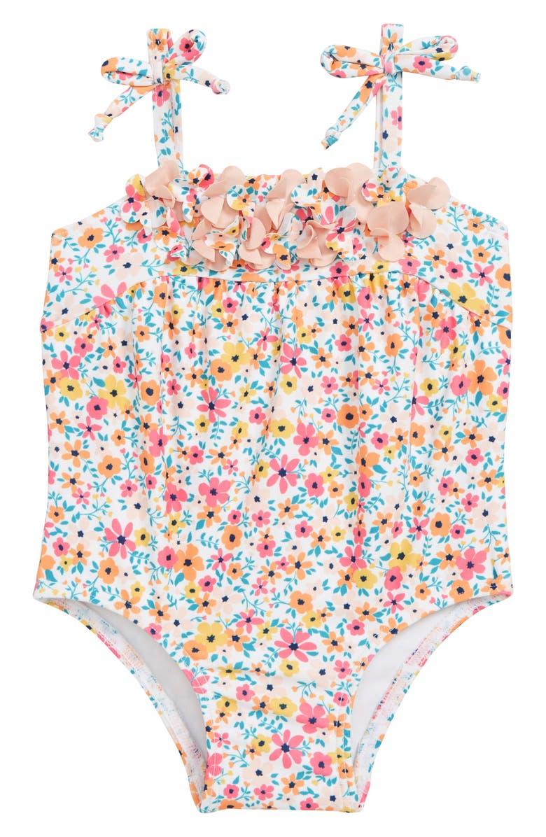 TUCKER + TATE Flower Appliqué One-Piece Swimsuit, Main, color, 100