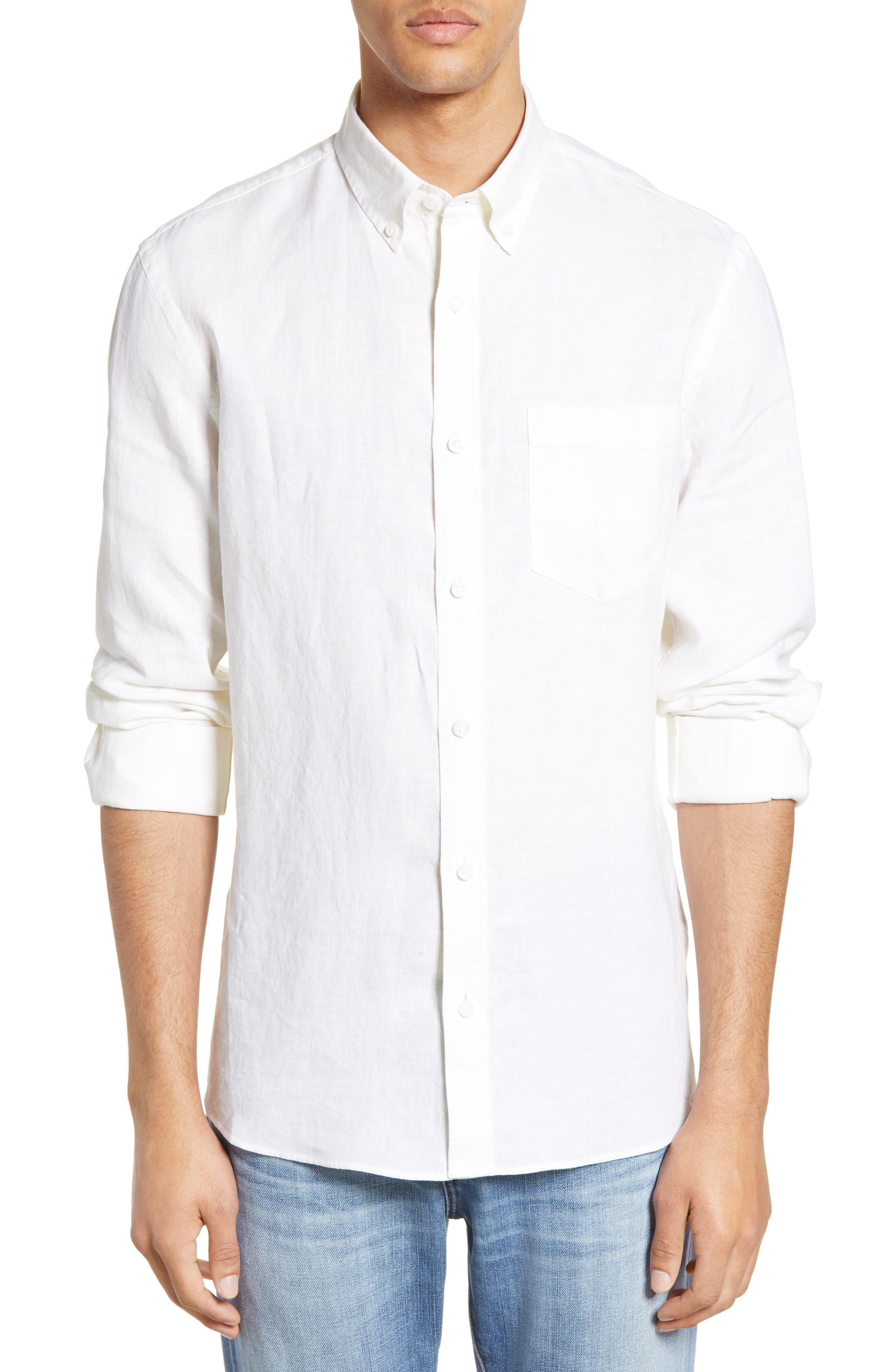 Nordstrom Shop Trim Fit Linen Sport Shirt,  White