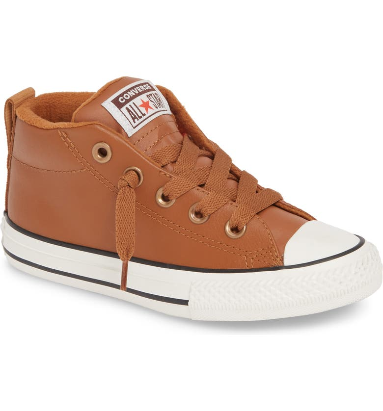 CONVERSE Chuck Taylor<sup>®</sup> All Star<sup>®</sup> Street Red Rover Leather Mid Top Sneaker, Main, color, WARM TAN