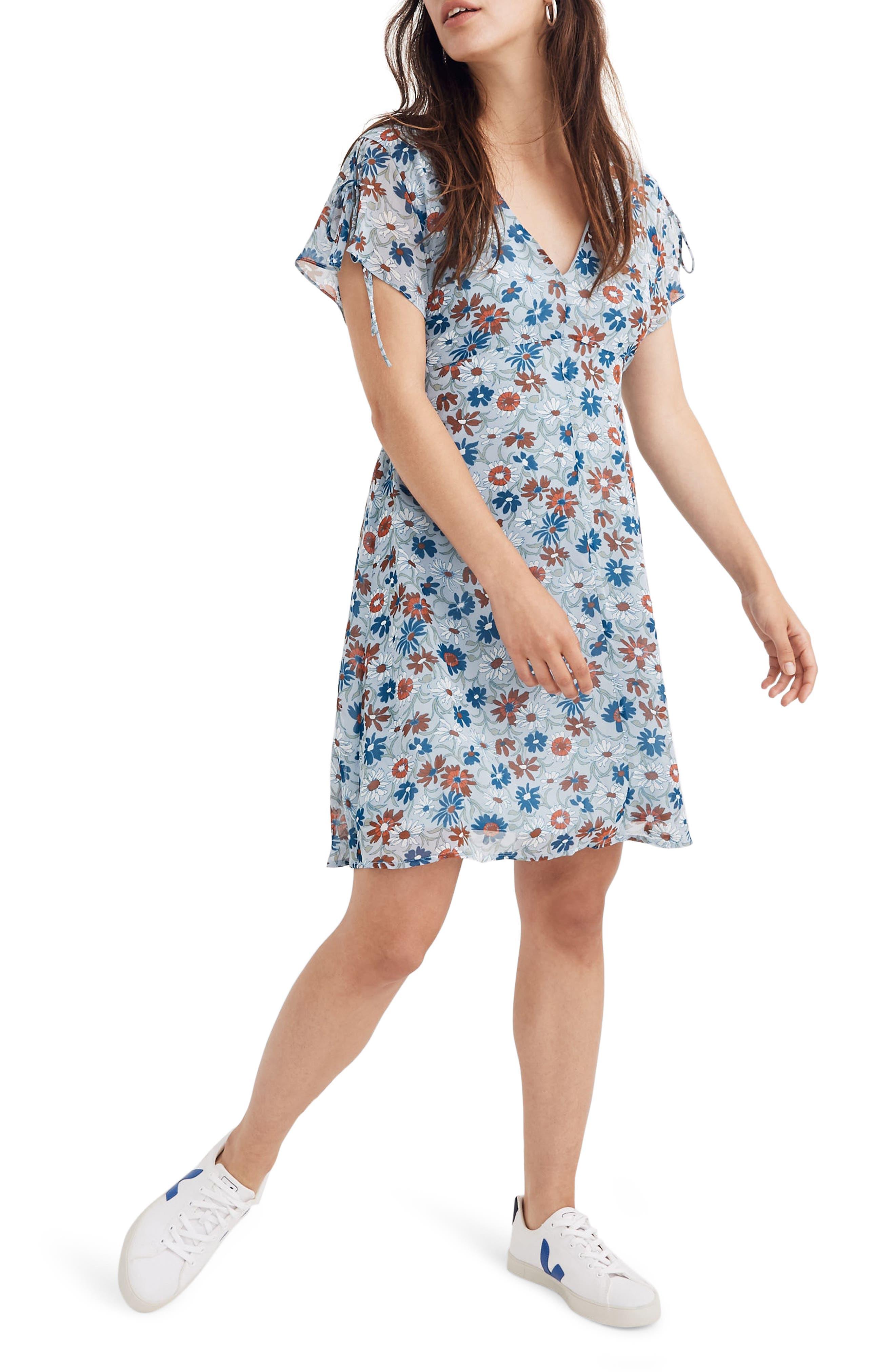 Madewell Wildflower Garden Open Back Minidress, Blue